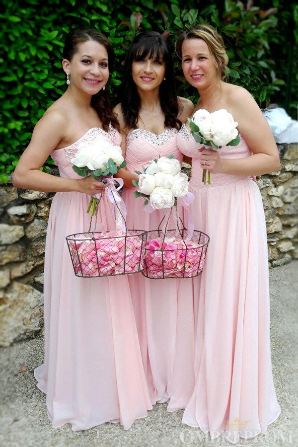 Elegant Pink Sweetheart Chiffon Bridesmaid Dress with Beading B466