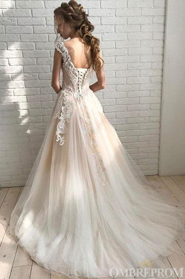 Elegant Round Neck Lace Up Back Prom Dress with Appliques D144
