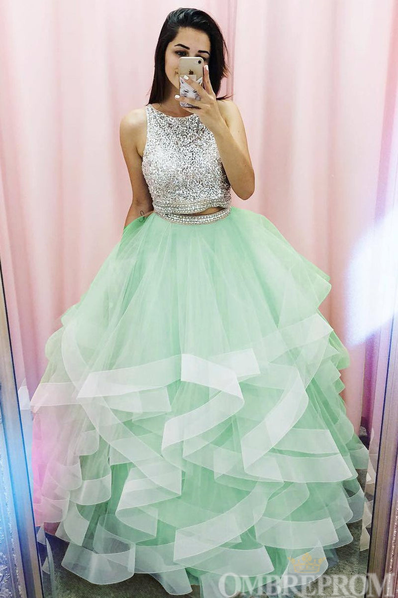 Elegant Round Neck Two Piece Prom Dress Ruffle with Sequins D139