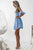 Elegant Sky Blue V Neck Lace Homecoming Dress M688
