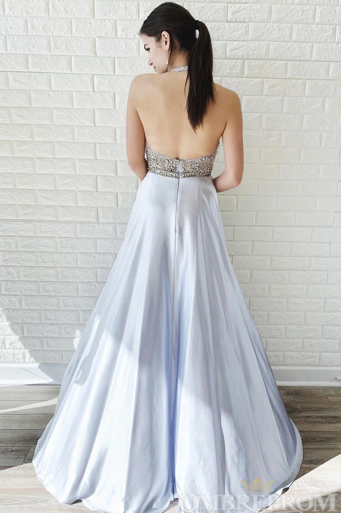 Elegant Sleeveless A Line Floor Length Prom Dress with Sequins D107