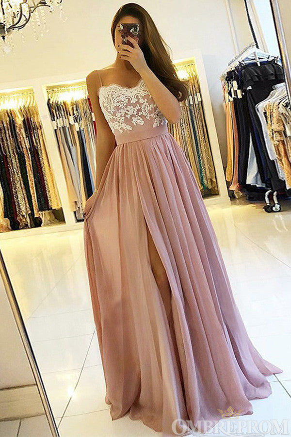 Elegant Spaghetti Straps Sweetheart Low Back Lace Prom Dress D149