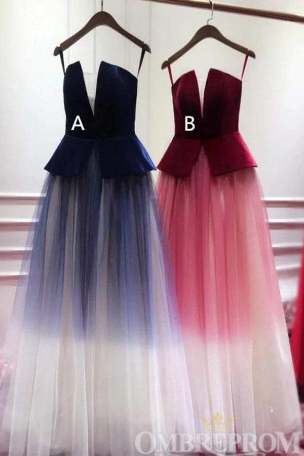 Charming Spaghetti Straps Lace Up A Line Ombre Prom Dress D274