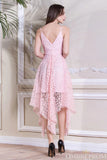 Elegant Spaghetti Straps V Neck Lace Bridesmaid Dress B491