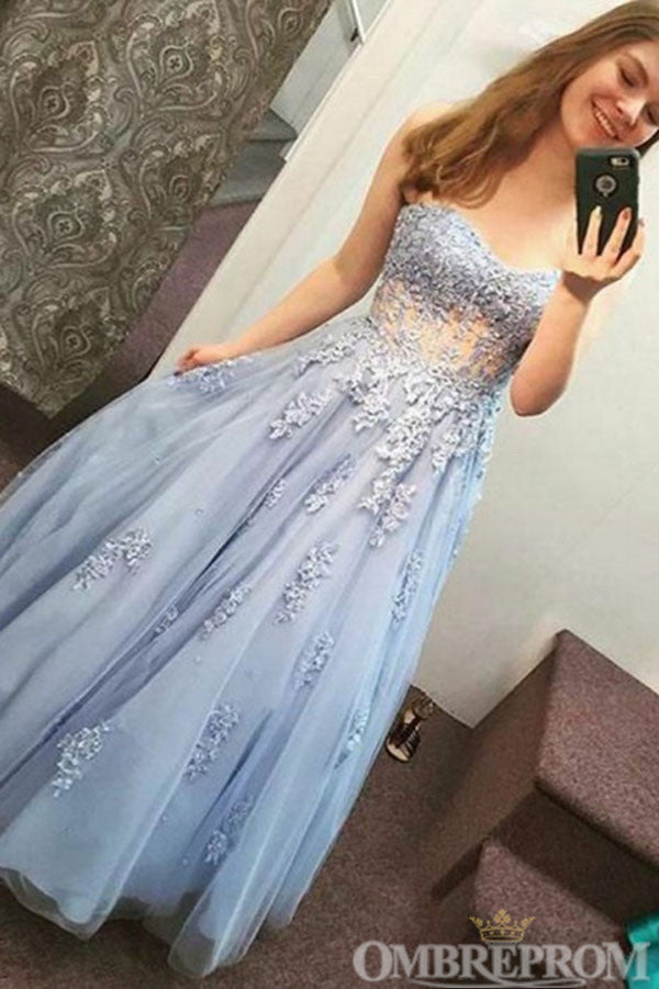 Elegant Strapless Sweetheart Blue Prom Dress with Appliques D85