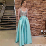 Elegant Straps V Neck Sleeveless Floor Length Satin Prom Dresses with Pocket P996