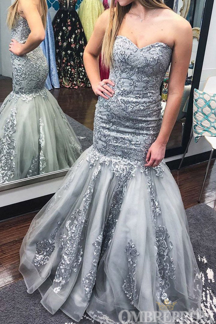 Elegant Sweetheart Strapless Mermaid Sleeveless Tulle Long Prom Dress D127