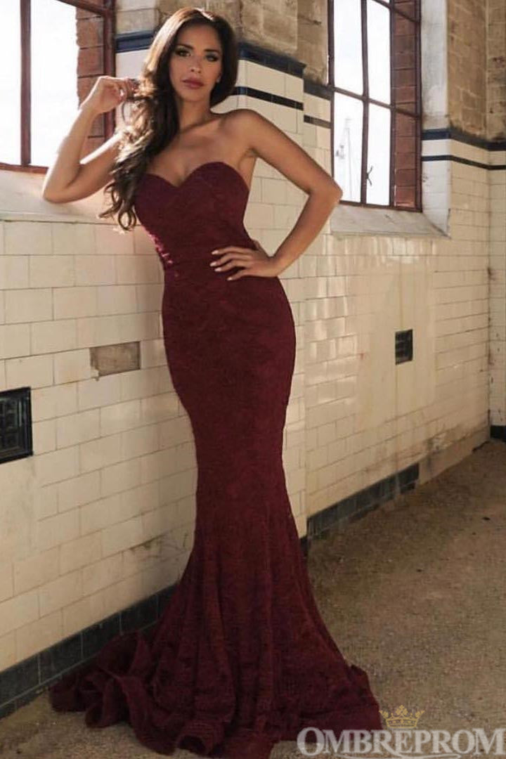 Elegant Sweetheat Strapless Burgundy Lace Mermaid Prom Dress D54