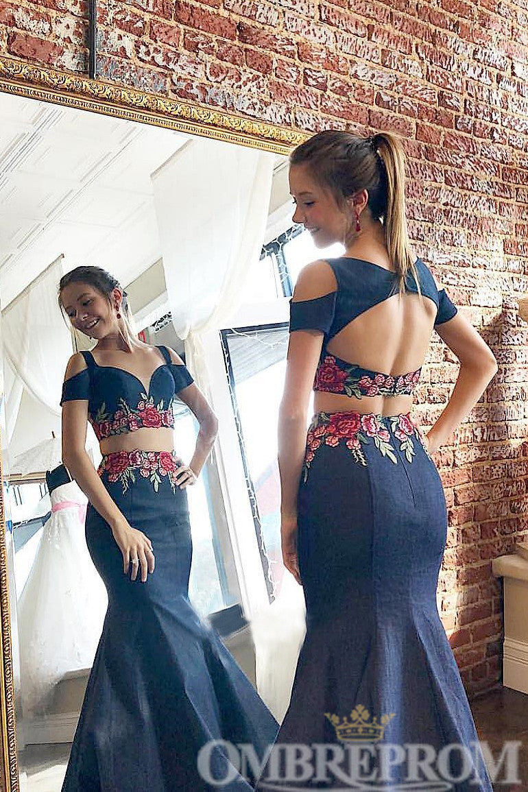 Elegant Two Piece Open Back Mermaid Prom Dress D350