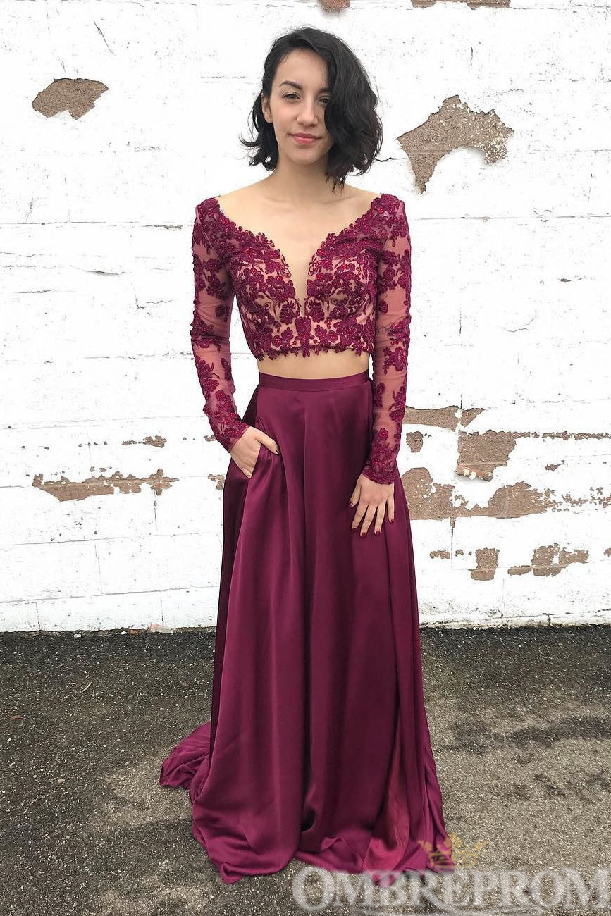 Elegant Two Piece Party Dress Long Sleeves V Neck Prom Dress D245