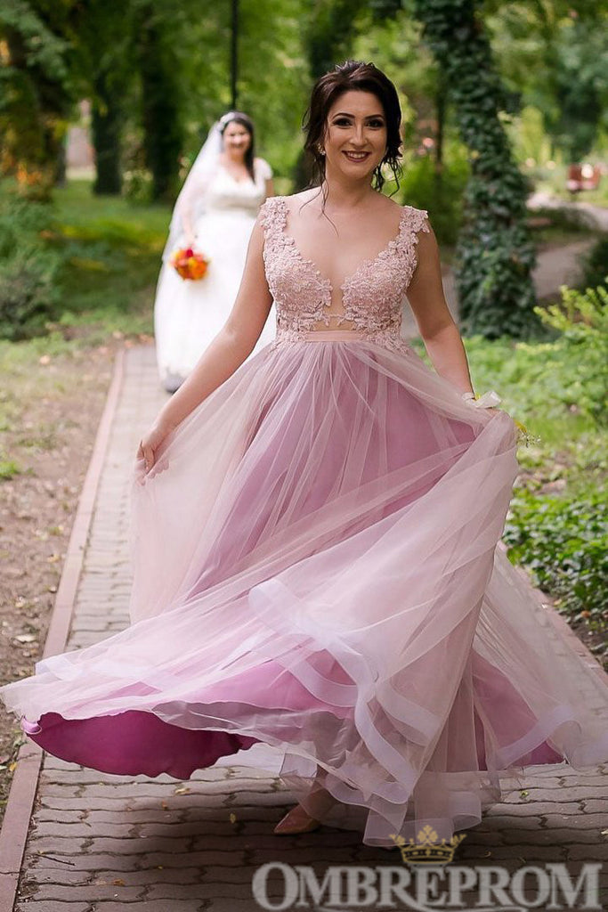 Elegant V Neck A Line Lace Prom Dress Tulle Long Party Gown D230