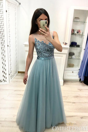 9f9c348986c Elegant V Neck A Line Sleeveless Tulle Lace Long Prom Dress D90 ...