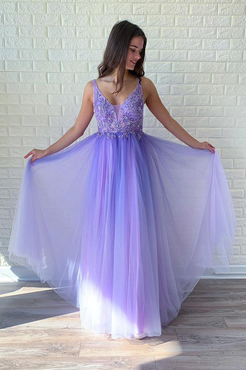 Elegant V Neck Backless A Line Prom Dress with Beaded D363