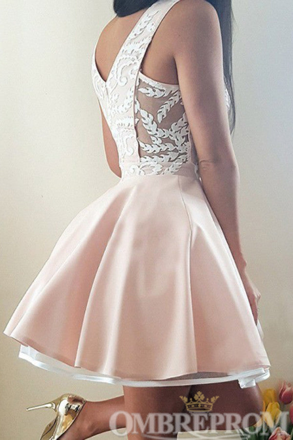 Elegant V Neck Sleeveless A Line Lace Homecoming Dress M680