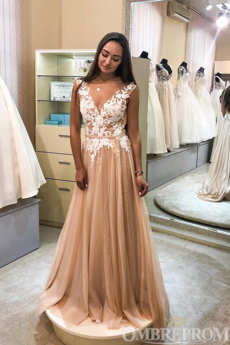 Elegant V Neck Sleeveless Long Lace Prom Dress D325
