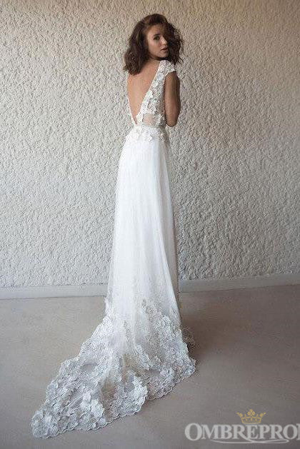 Elegant V Neck Tulle Cap Sleeves Wedding Dresses Bridal Gown with Appliques W586
