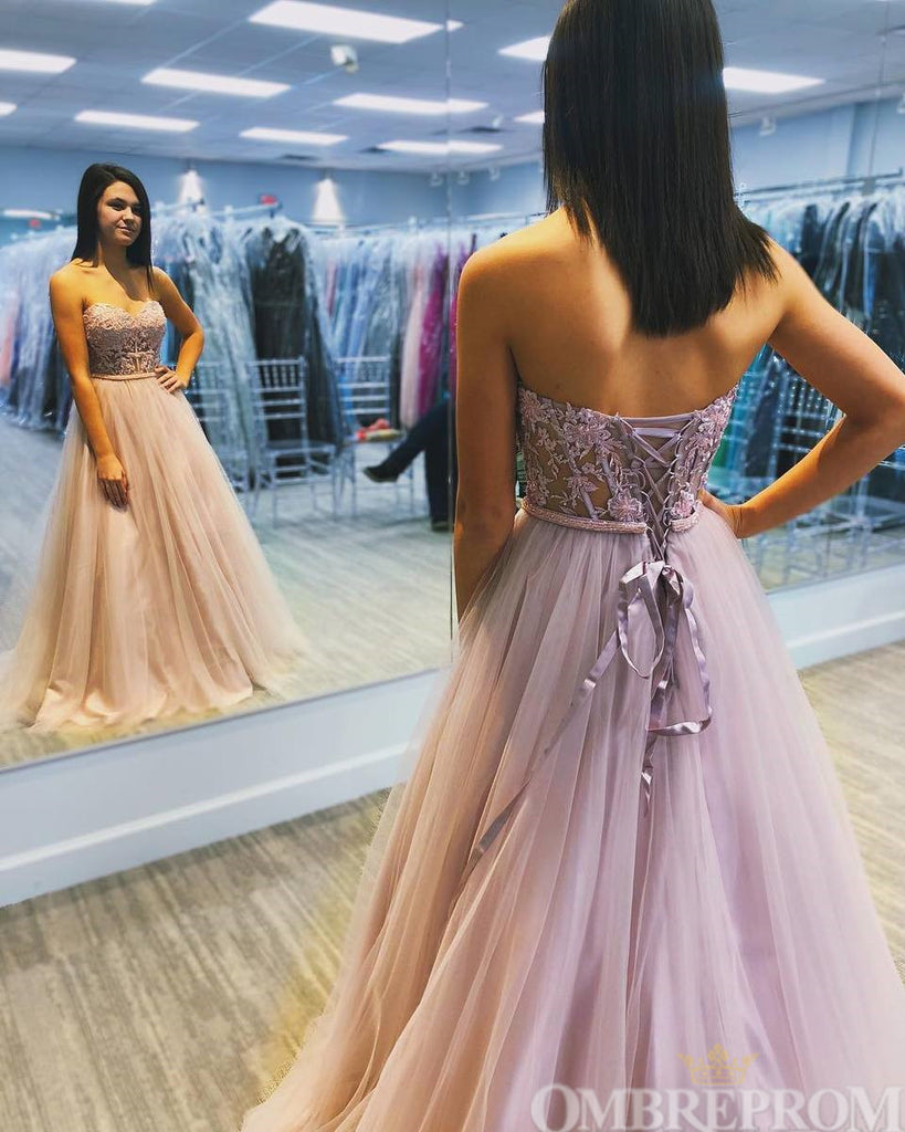 Flossy Strapless Sweetheart Lace Up  A Line Tulle Prom Dress D39