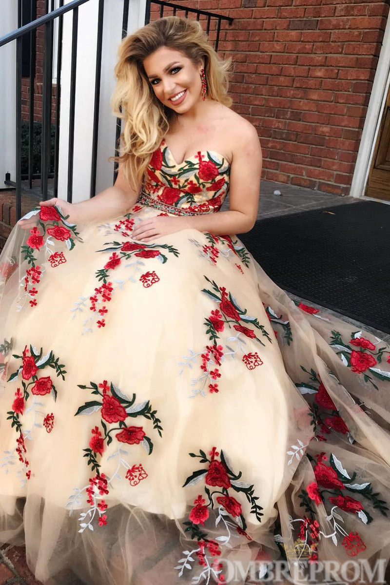 Flossy Sweetheart Strapless Flower Tulle Long Prom Dress D161