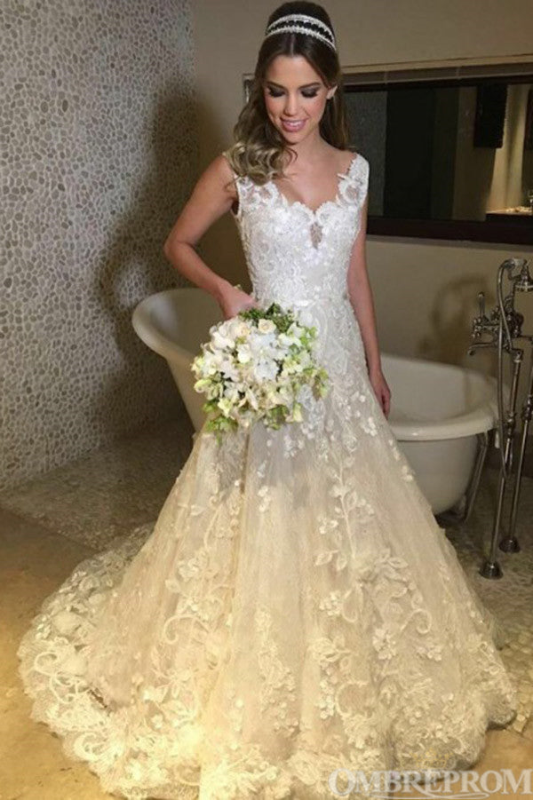 Gorgeous A Line Lace V Neck Sleeveless Wedding Dress with Appliques W657