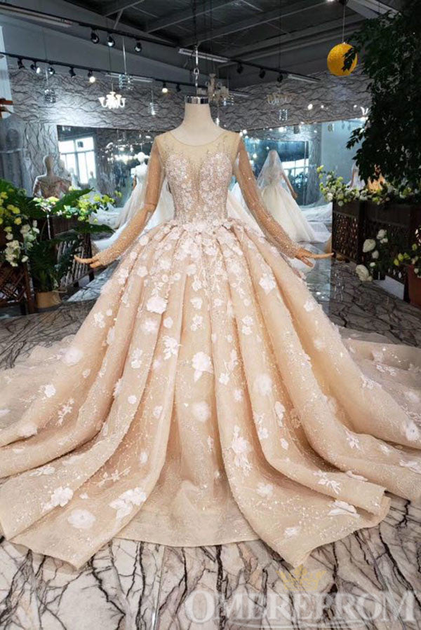 Gorgeous Appliques Lace Wedding Dress with Beading Ball Gown W708
