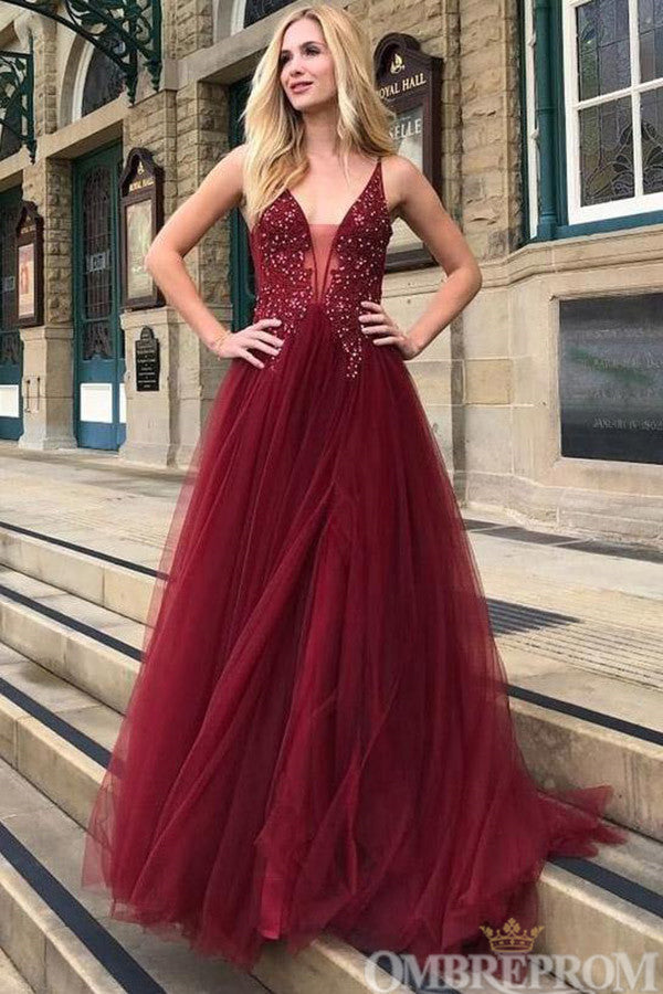 Gorgeous Burgundy V Neck Tulle Backless Prom Dress with Beading D131