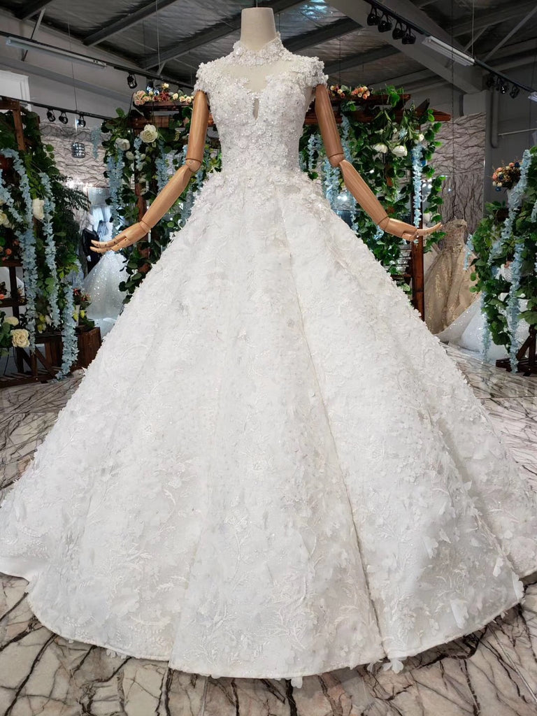 Gorgeous High Neck Ball Gown Cap Sleeves Wedding Dress with Beading D221