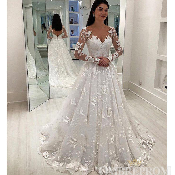 super cute save off high quality Gorgeous Long Sleeves V Neck Lace Classy Bridal Gowns Ivory Backless Modest  Wedding Dresses W578
