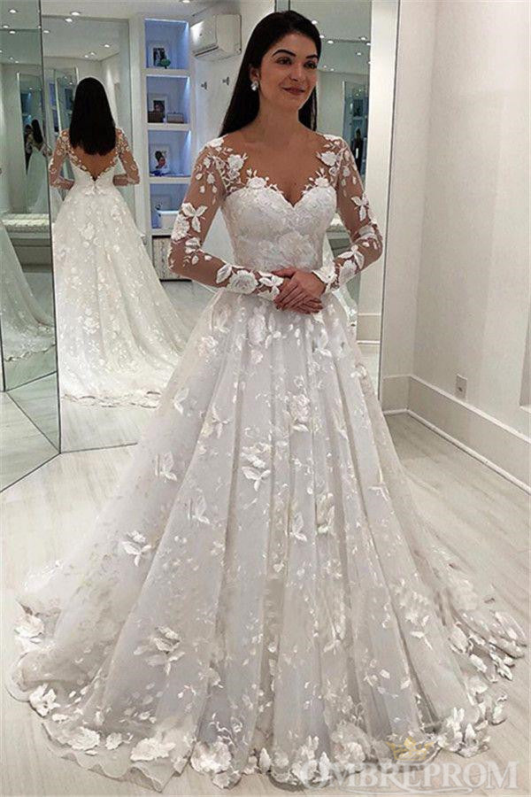 Gorgeous Long Sleeves V Neck Appliques Bridal Gown Lace Wedding Dresses W578