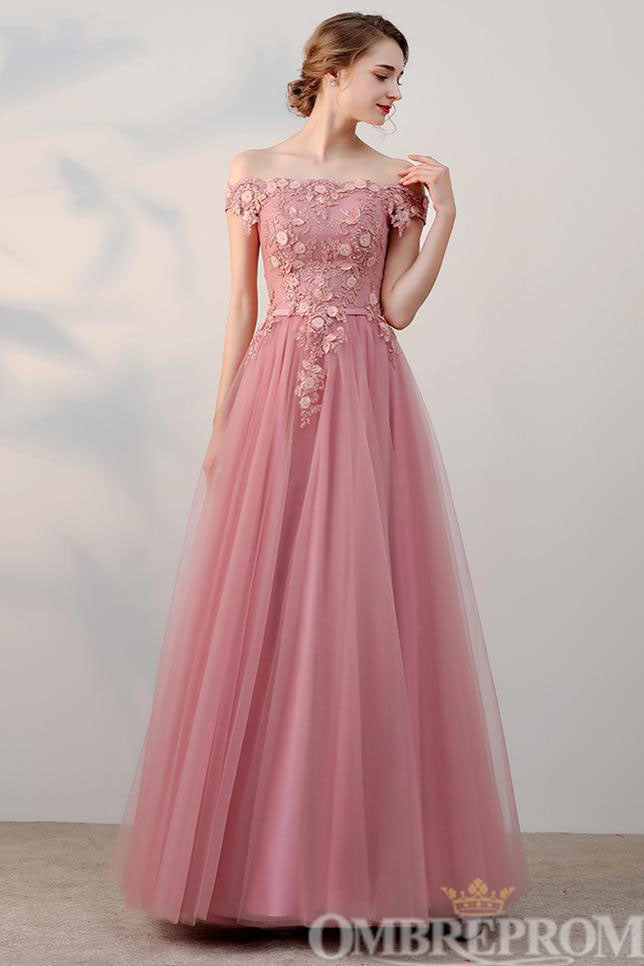 Gorgeous Off Shoulder Lace Up Appliques Long Prom Dress D247
