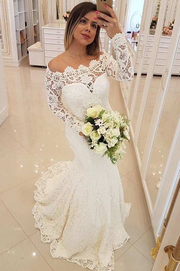 Gorgeous Off Shoulder Long Sleeves Mermaid Wedding Dress W805