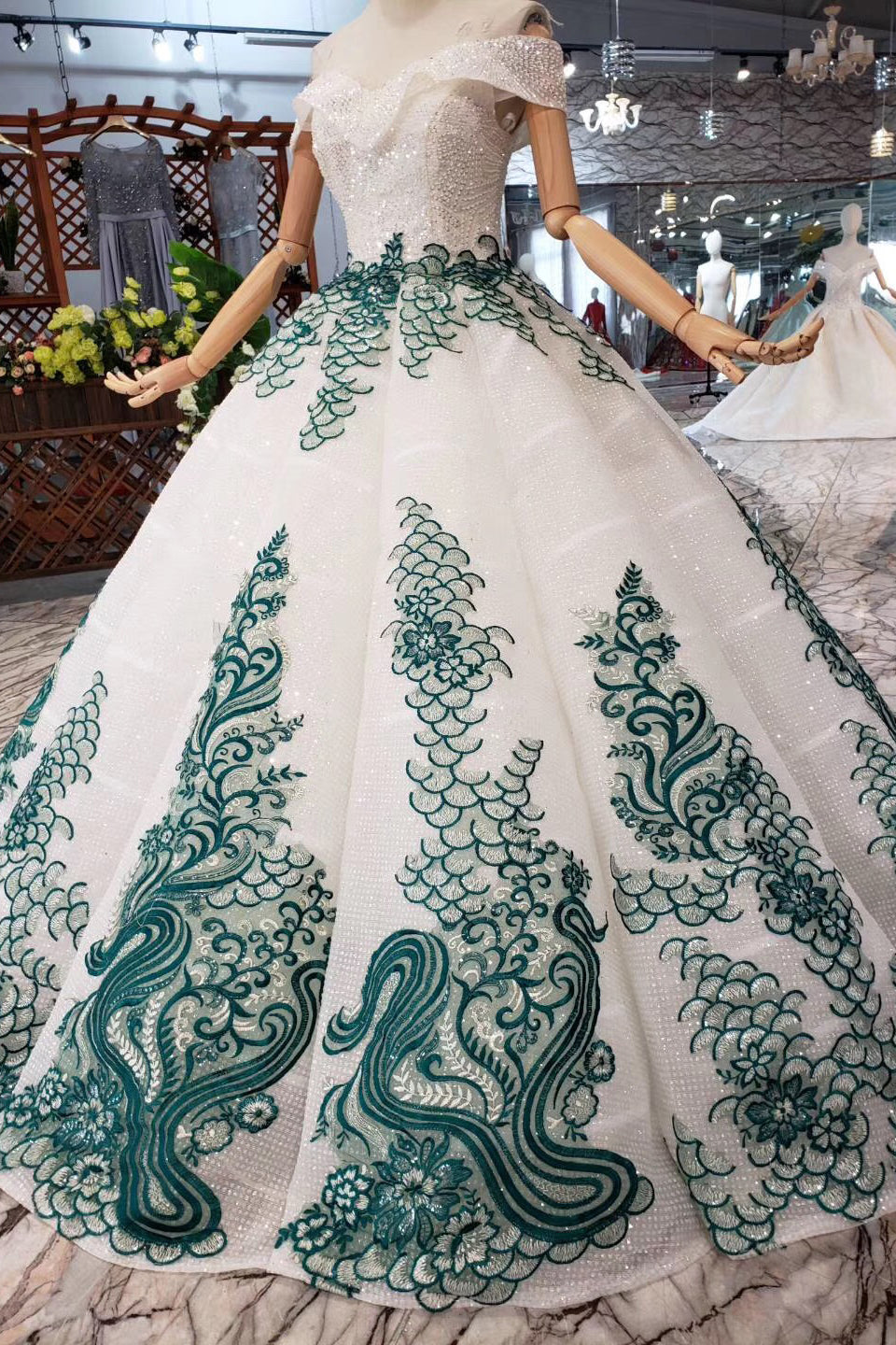 Gorgeous Spaghetti Straps Off Shoulder Ball Gown Lace Prom Dress D201