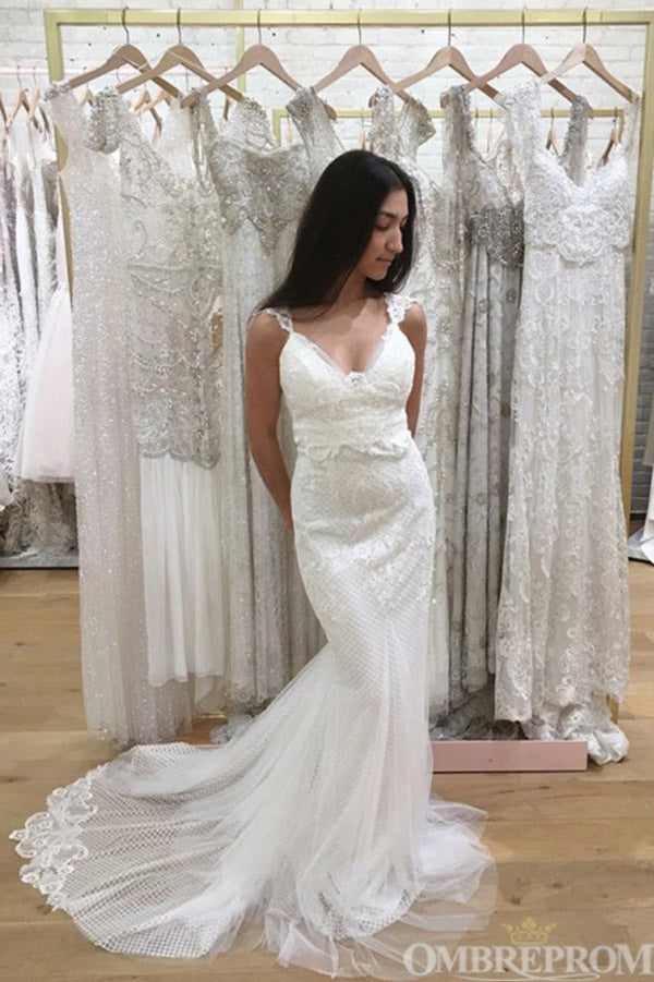 Gorgeous Sweep Train Lace V Neck Mermaid Wedding Dress W663