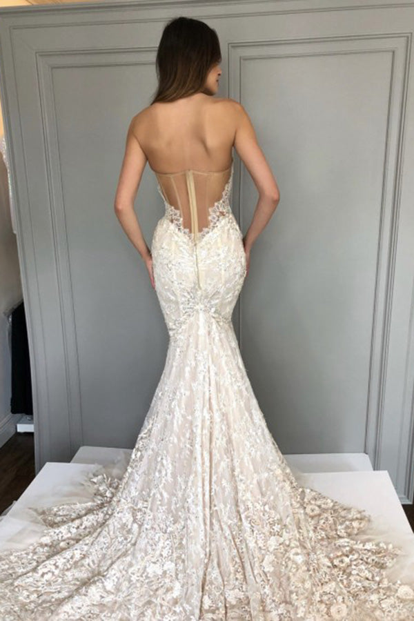 Gorgeous Sweetheart Strapless Mermaid Bridal Gown Lace Wedding Dress W694
