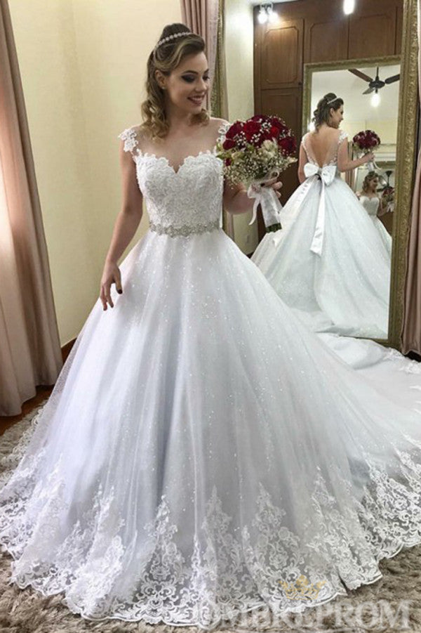 Gorgeous V Back Lace Wedding Dress with Bowknot W797