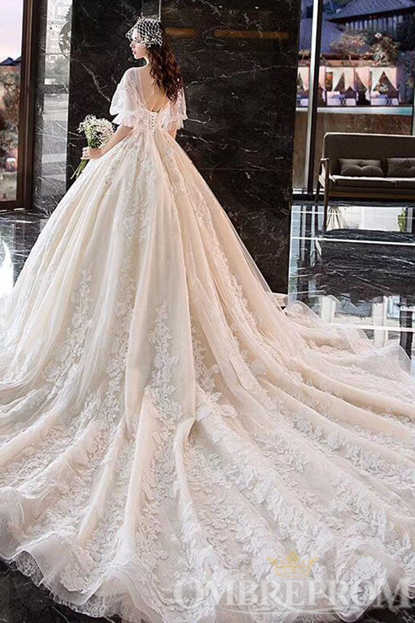 Gorgeous V Neck Half Sleeves Appliques Ball Gown Long Lace Wedding Dress W714