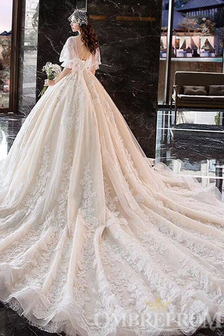products/Gorgeous_V_Neck_Half_Sleeves_Appliques_Ball_Gown_Long_Lace_Wedding_Dress_W714_5.jpg