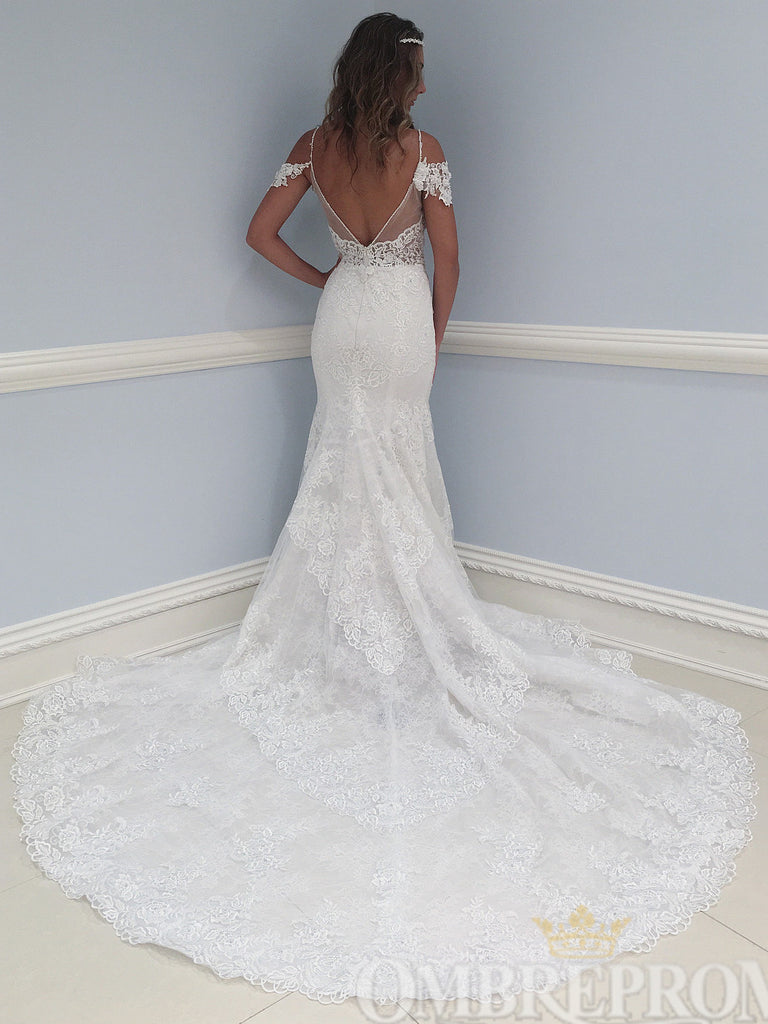 Gorgeous V Neck Lace Sweep Train Mermaid Wedding Dress W762