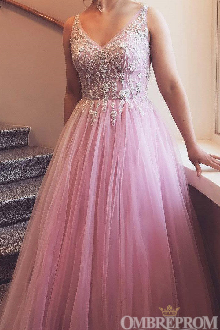 Gorgeous V Neck Prom Dress with Beading Tull Ball Gown D138