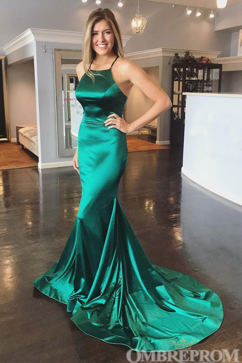 Green Spaghetti Straps Backless Satin Mermaid Prom Dress D116