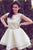 White Sleeveless Boat Homecoming Dresses,A Line Pearl Beading Short Prom Dress H146 - Ombreprom