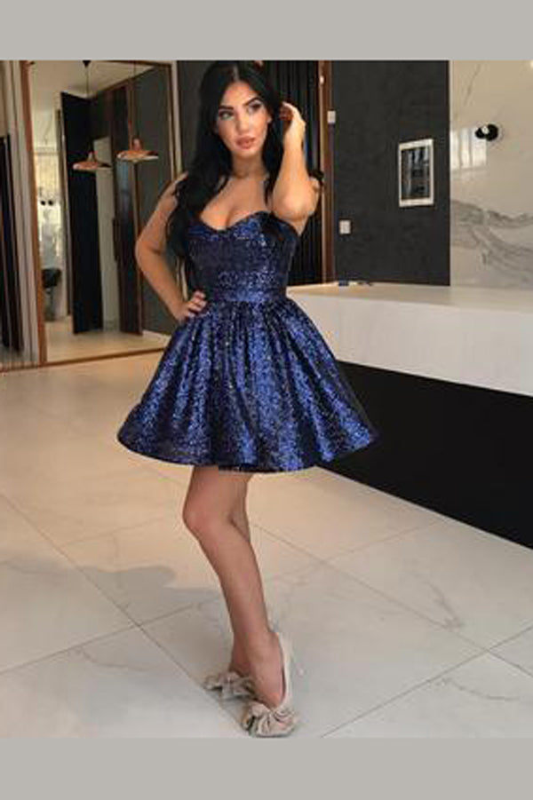 Royal Blue Sweetheart Strapless Homecoming Dresses,Shining Open Back Short Prom Dress