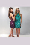 Sequins Beading Homecoming Dresses,Open Back Shining Short Prom Dress
