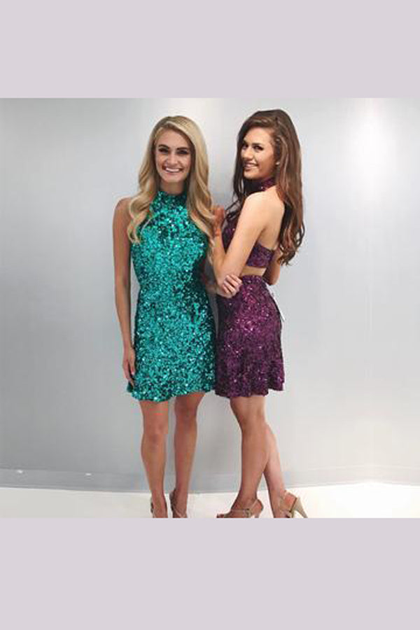 Sequins Beading Homecoming Dresses,Open Back Shining Short Prom Dress HCD148 - Ombreprom
