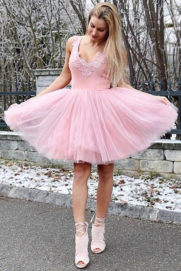 Pink Layers Tulle Homecoming Dresses,Sleeveless Appliques Short Prom Dress