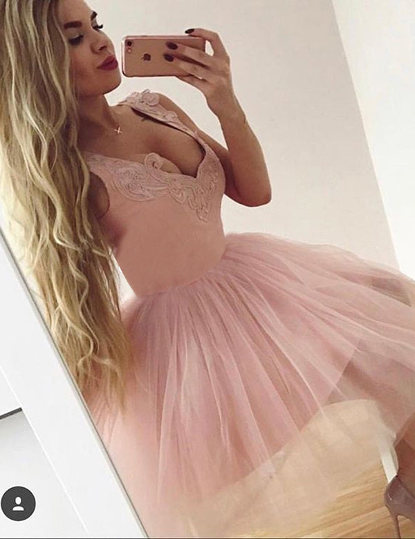 Pink Layers Tulle Homecoming Dresses,Sleeveless Appliques Short Prom Dress H151 - Ombreprom