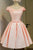 Pink Off Shoulder Short Sleeve Homecoming Dresses,Open Back Appliques Short Prom Dress