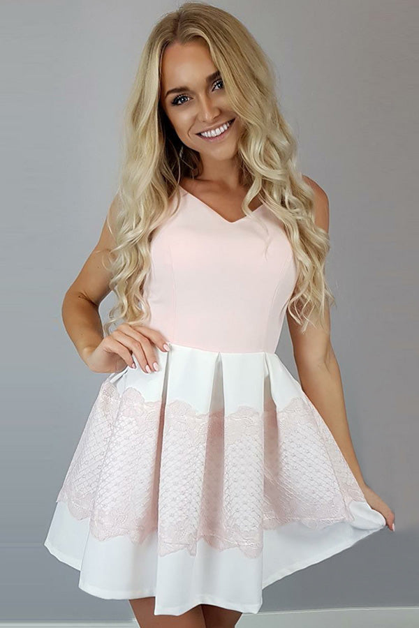 Pink V Neck Sleeveless Homecoming Dresses,A Line Lace Up Short Prom Dress