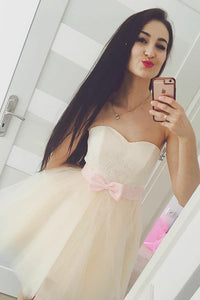 Sweetheart Strapless Layers Tulle Homecoming Dresses,A Line Lace Up Appliques Short Prom Dress