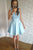 Blue V Neck Sleeveless Homecoming Dresses,Lace Up Appliques Short Prom Dress H159 - Ombreprom