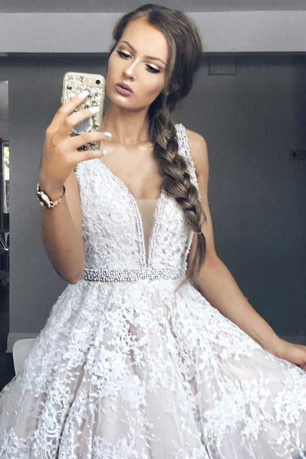 Deep V Neck Sleeveless Homecoming Dresses,Lace Up Appliques Beading Belt Short Prom Dress H160